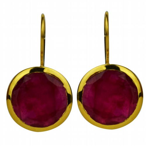 Circular Drop Earrings - Gold & Ruby